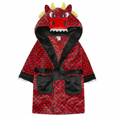 Boys Red Dragon Robe Kids 3D Hooded Wings Tail Bath Robe Dressing Gown 2-6Years