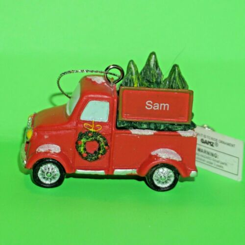 Ganz Christmas Truck Ornament Personalized Choose Boy Name Red Xmas Vintage NWT
