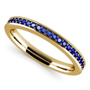 Natural-0-5ct-Eternity-Diamond-Blue-Sapphire-Gemstone-Ring-14k-Yellow-Gold-Rings