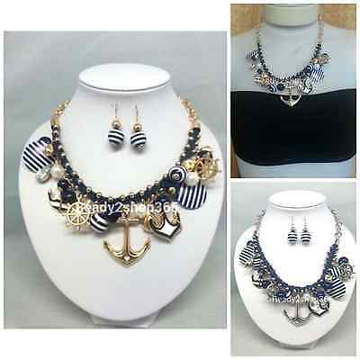 Anchor Necklace Navy Blue Pendant Set Chain Fashion Nautical Jewelry Silver Gold