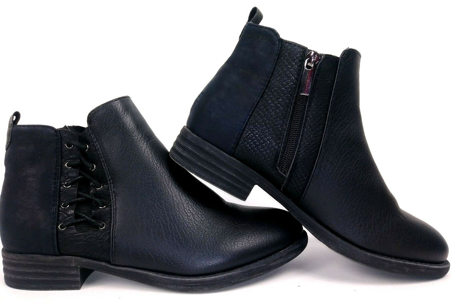 Dept 222 Womens Chatham Ankle Boots Size 7.5 Black Faux Leather Zip Booties