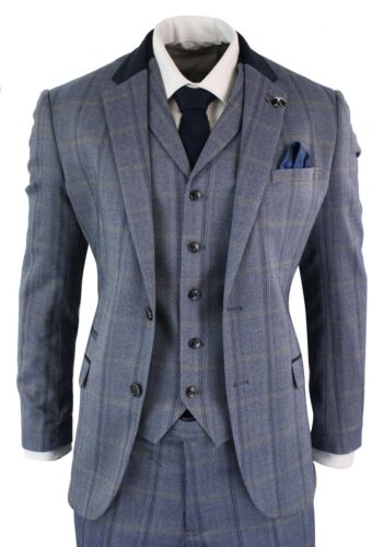 Mens Check Tweed 3 Piece Blue Navy Suit Vintage Retro Tailored Fit Prince Wales