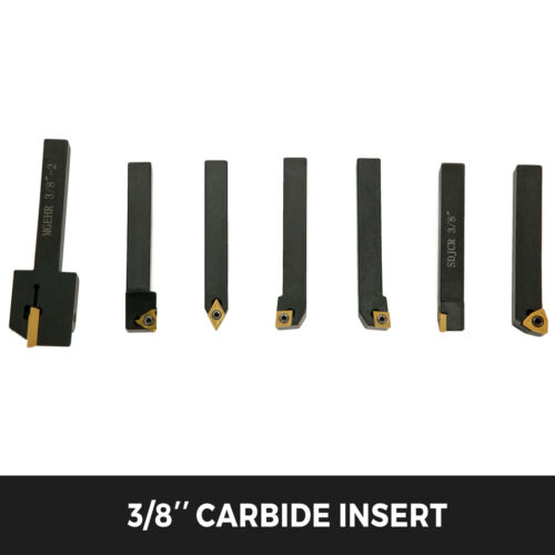 """Carbide Indexable Tools 3//8/"""" 9.5mm 7pcs Industrial Turning Threading Lathe Tool"""