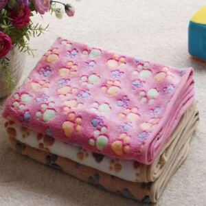 Warm-Paw-Print-Fleece-Towel-Soft-Blanket-Beds-Mat-Cute-Small-Puppy-Kitten
