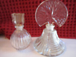 "2 CRYSTAL DECANTER - 3 1/2"" TALL & 4 3/4"" TALL -"