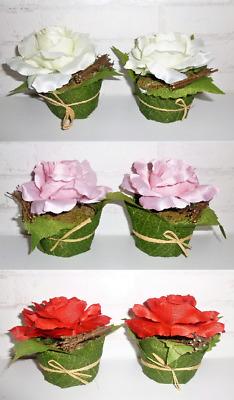 Künstliche Rosen Blumen Gesteck Tischdeko Hochzeit weiß rosa rot Zweige Blätter