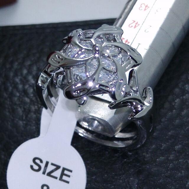Nice LOTR The Galadriel Nenya Charm White Topaz Gem 18K Gold Plated Ring Sz 6-10
