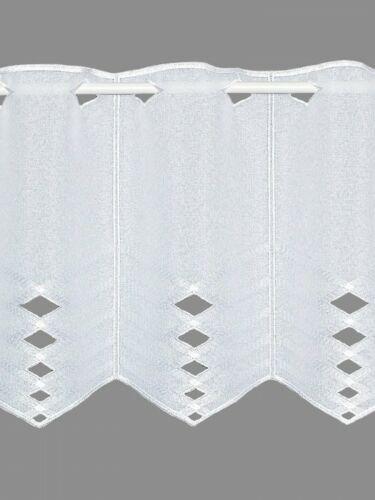 Dekorative Kurzgardine Liss in weiß Scheibengardine Kurzstore Plauener Spitze