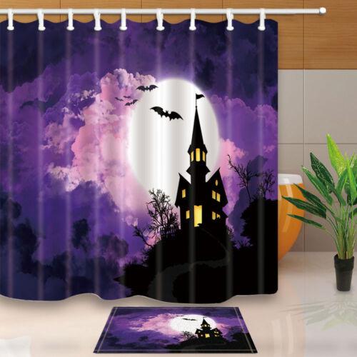 Halloween House Witch Bat Shower Curtain Bathroom Waterproof Fabric /& 12Hooks