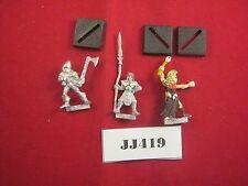 OOP Warhammer Wood Elf Warriors x2 and Wood Elf Wizard 1987 Metal Ref JJ419