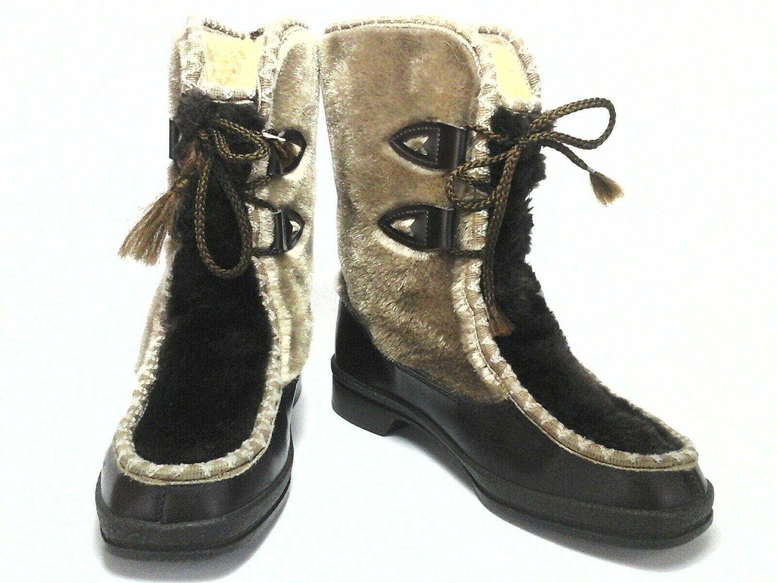 Snowland botas De Goma Marrón Imitación Piel Vintage años 70 70 70 Invierno para Mujer US 7 EU 37. 5  envío rápido en todo el mundo