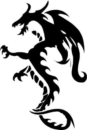 Dragon De Serpentina Reptilian Mito Sticker Etiqueta de vinilo gráfico Etiqueta Negra V6