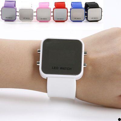 Hot New Classical Lady Men Mirror Face LED Date Sport Rubber Digital Wrist Watch