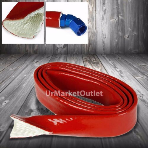 """1/"""" Inch//25MM Fire Sleeve Red Temp Silicone Braided Insulation Hose x 1 Feet"""