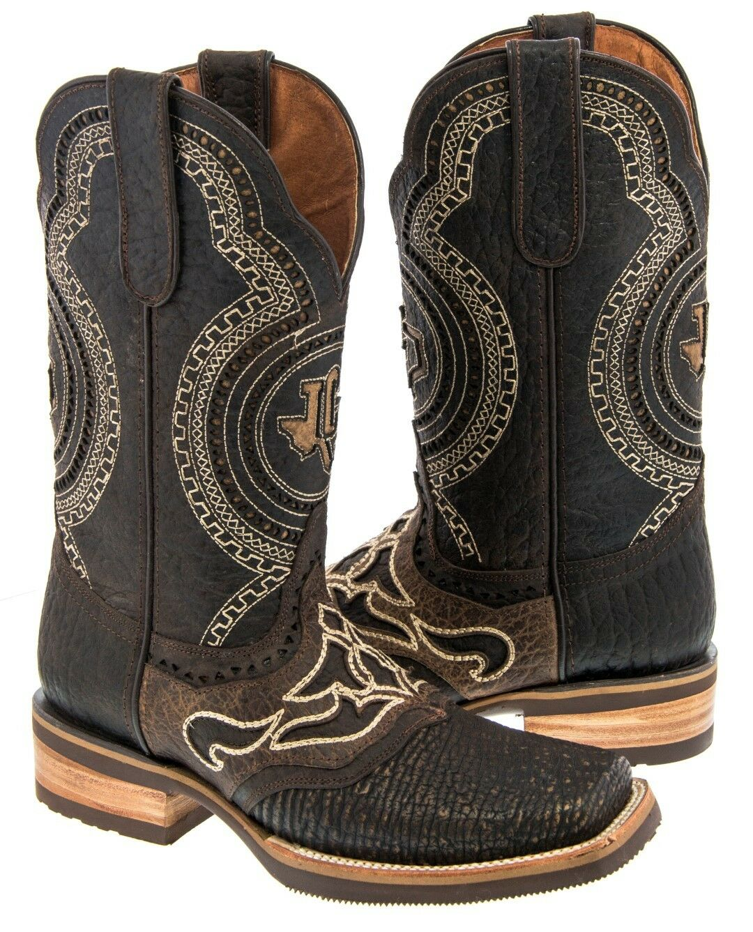 Mens Brown Shark Design Western Wear Leather Cowboy Country Riding Boots Rodeo
