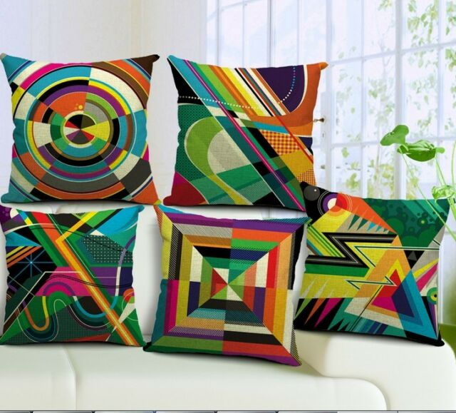 Vintage Cotton Linen Cushion Cover Pillow Case Colorful Geometry