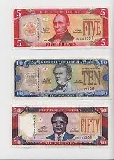 LIBERIA 5 10, 50 DOLLARS 2011 ( P-26,27,29 )UNC SET