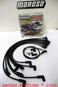 SBC-305-350-Chevy-Moroso-90-Degree-8mm-HEI-Ignition-Spark-Plug-Wires-Black-9862M