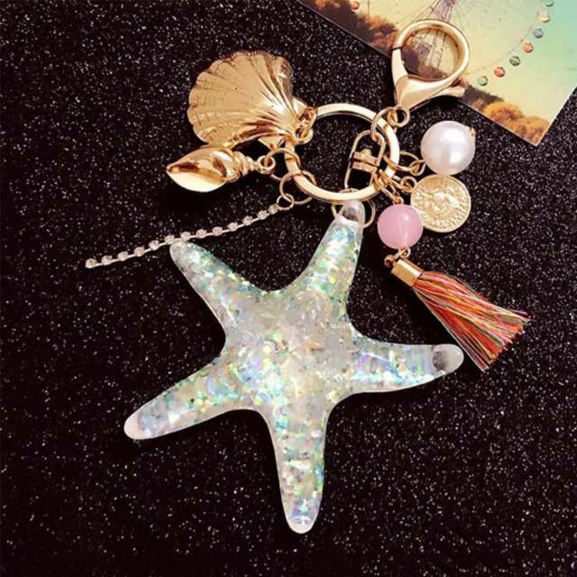 Cartoon Sea World Starfish Pearl Shell Key Chain Crystal Pendant Gifts Chic