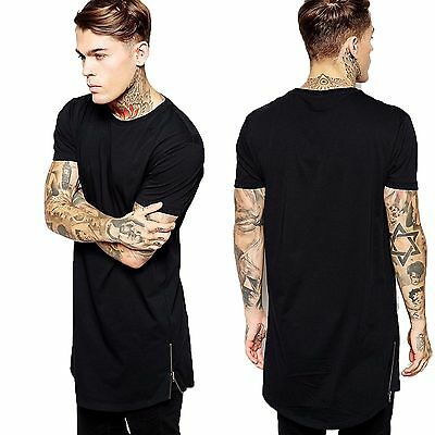 New Men Boy Short Sleeve Long Size Extended Hip Hop T-Shirt Zipper Streetwear