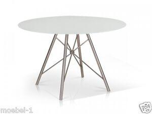 wei er esstisch runder tisch k chentisch 120 cm rund wei edelstahl domino ebay. Black Bedroom Furniture Sets. Home Design Ideas