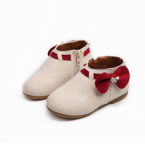 Fashion Toddler Kids Baby Girl Bowknot Boots Leather Zipper Crib Shoes Moccasins
