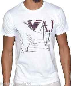Armani Blanc Col A6h76 Détails Imprime Marron Rond Courtes Sur T Homme Shirt Jeans Manches 354jARL