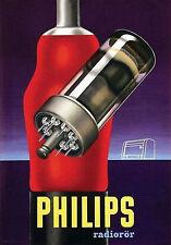 Vintage Latvian 1940s Philips Radio Tube  Ad Poster 13 x 19 Giclee Print