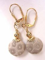 Earrings Artisan Handmade Kirsten Usa Petoskey Fossil Gemstone Gold Leverbacks