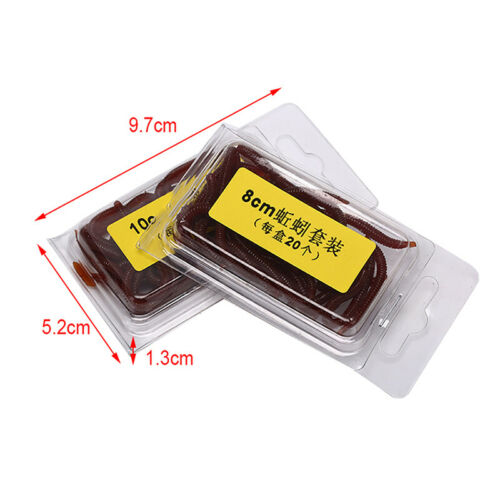 20Pcs Earthworm Red Fishing Worms Artificial Fishing Worms Lures Fishing Tack9k