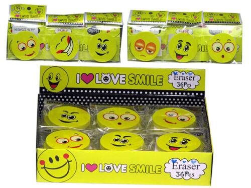 Radiergummi Love Smiley 4,5cm Eraser Radierer mit Gesicht Schule Kinder b31v