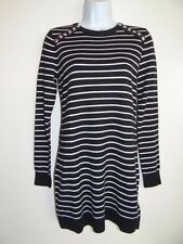 Michael Kors Women's White Black L/S Cotton Blend Pull over Sweater Size S sale