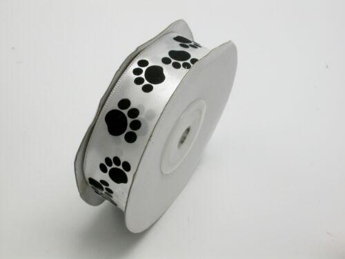 "Paw Prints Satin Ribbon 7//8/"" 22mm White with Black Printed  25 Yards"