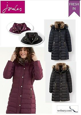 NEW Joules Caldecott Ladies Long Padded Jacket Navy Fur Hood /& Collar Size 8 18