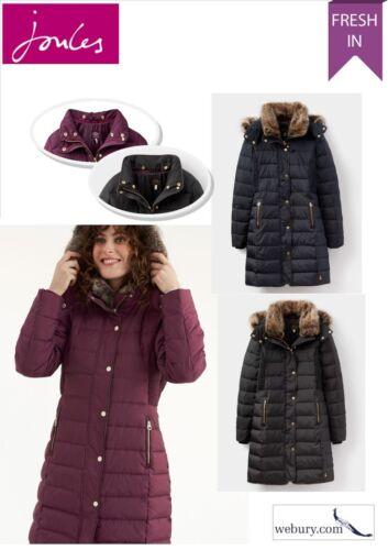 Navy /& Black UK 8-16 Burgundy Joules Ladies Caldecott Feather // Down Coat