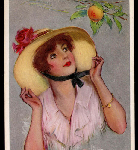 """PEACHES"" GLAMOUR LADY,STRAW BONNET,HAT,JEWELRY,LOU MAYER VINTAGE POSTCARD"