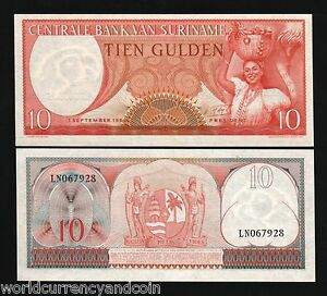 Suriname 10 Gulden Uncirculated Note Year 2000