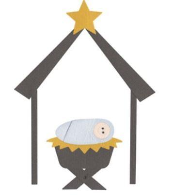 Baby  REV-0077 QuicKutz Lifestyle Crafts 4x4 Duo Die NATIVITY MANGER Christmas
