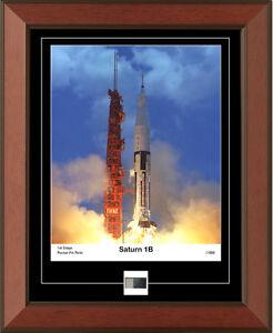 NASA-Apollo-Saturn-1B-Framed-Photo-Piece-Of-1st-Stage-Metal-Rocket-Fin-Relic-Coa