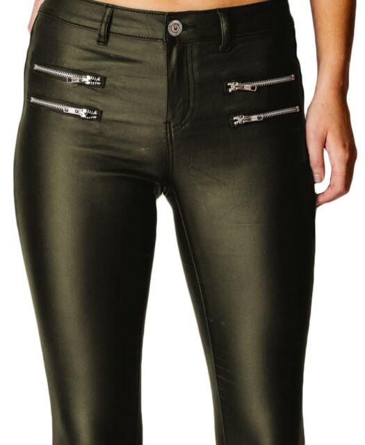 3a504dae34a5f Womens High Waisted Rise Wet LOOK PU Zips Pockets Khaki SKINNY Slim ...