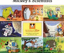 BLOC TIMBRES NEUFS WALT DISNEY MICKEY SCIENTISTS : ST VINCENT ET GRENADINES