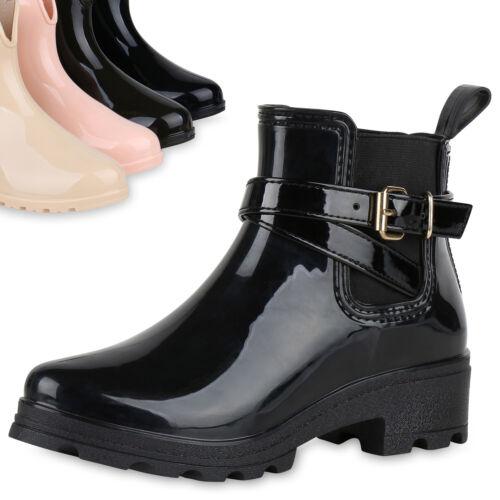 Damen Gummistiefel Lack Plateau Stiefeletten Chelsea Boots 819661 Top