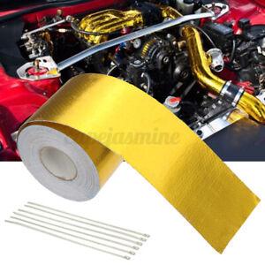 10m-50mm-Gold-Heat-Insulation-Aluminium-Foil-Wrap-Exhaust-Heater-Pipe-Tape-O