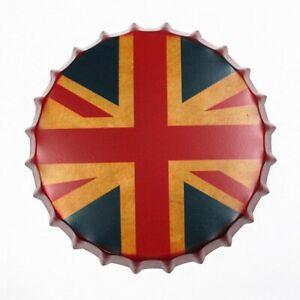 Plaque en métal rétro Bouchon de bouteille capsule Angleterre 35 cm