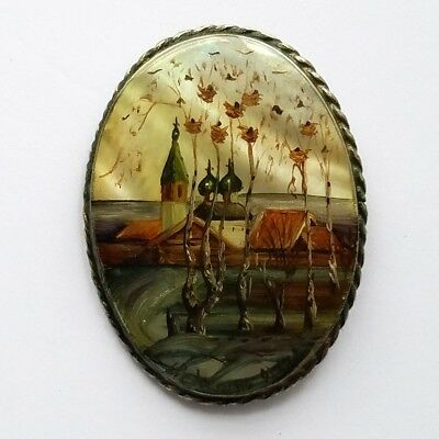 Vintage Hand Painted Wooden Brooch.FREE SHIPPING US.