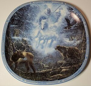 Visions-of-the-Sacred-SNOW-RIDER-Plate-1-Native-American-Indian-Elk-Bear-Wolf