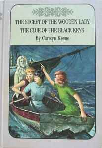 NANCY-DREW-TWIN-THRILLER-27-WOODEN-LADY-28-BLACK-KEYS-C-KEENE-VINTAGE-HC-VG