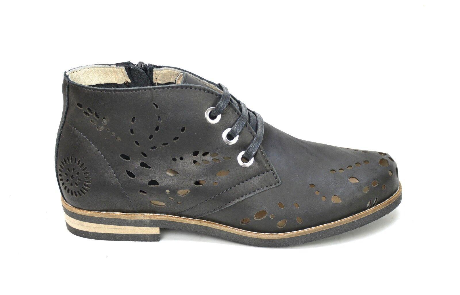 negozio online outlet OGS Wide Wide Wide scarpe Angelina nero Laser Perforated Leather Ankle stivali 3E wide  Garanzia di vestibilità al 100%