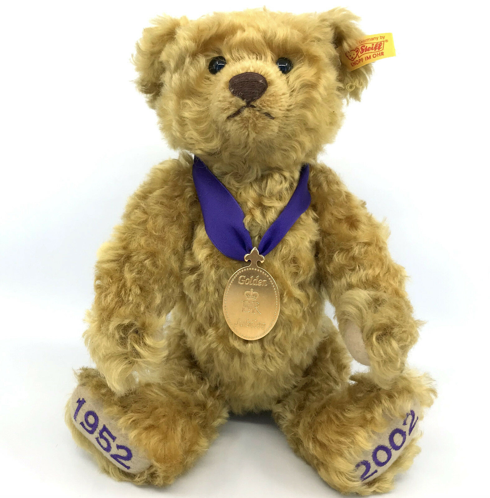 Steiff DM Queen oroen Jubilee Teddy Bear Mohair Plush Medallion ID Button 2002