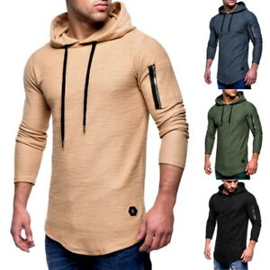 Men-039-s-T-Shirt-Round-Neck-Long-Sleeve-Zipper-Pullover-Hoodie-Hooded-Tops-PS